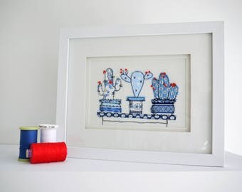 China Blue Cactus Trio Freehand Machine Embroidery Framed picture pot plants succulents retro oriental