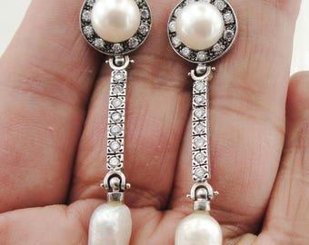 Pearl earrings, long silver earrings, Dangle earrings, earrings, CZ Earrings (sn 2001)