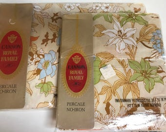 Vintage 60's/70's New Old Stock PILLOWCASES  / GROOVY Orange Blue Green Cannon Royal Family Floral Pillowcases / New in Package Linens