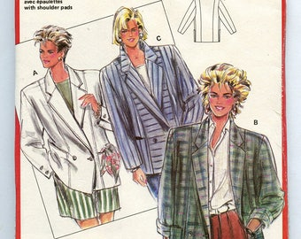 Vintage 80e Burda 6080 Women's Loose Fit Double Breasted Box Blazer Jacket UNCUT Sewing Pattern Sizes 10 12 14 16 18 20 40 42 44 S M L XL