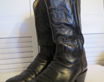 vintage Fancy Black Leather Cowboy Boots with Riding Heels by Dan Post  - size 9 D (mens) or 10 1/2 D (womens)