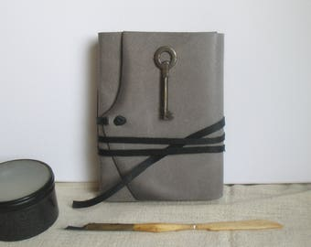 gray leather journal, vintage style paper, travel notebook with vintage key