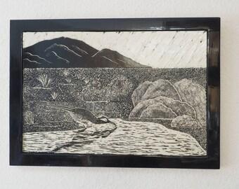 Desert Art, Roadrunner Tile, Sgraffito Carved Art Tile,  Framed Art Tile, Large Wall Tile, Tile Art, Black and White Representational  Art