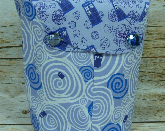 Time And Relative Dimension In Space -Small Llayover Knitting Tote/ Knitting, Spinning, Crochet Bag