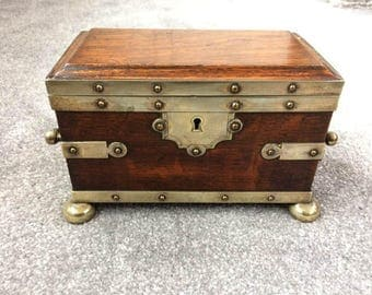 Victorian Oak and Silver Plated Tea Caddy, Circa 1880 with key