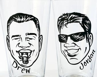 Caricature Glasses - The Original Vintage Style Caricature Pint Glasses - Set of 2