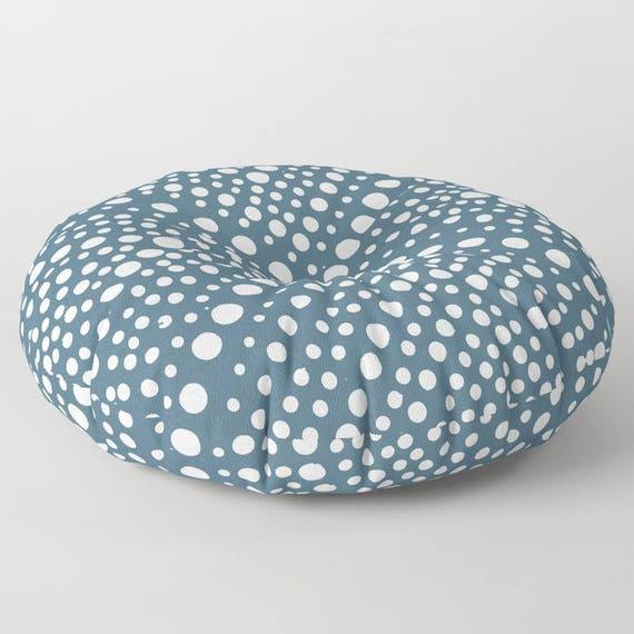 Teal floor cushion - Round cushion - Blue Pillow - Round pillow - Floor pillow - Geometric pillow - 26 inch pillow - 30 inch pillow
