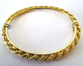 Vintage UTC Italy 925 Sterling Silver Gold Vermeil Hinged Twisted Rope Chain Bracelet