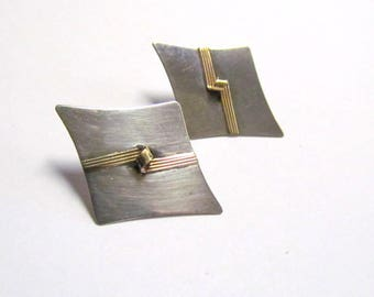 Vintage Sterling Silver & 14K Gold Post Back Earrings