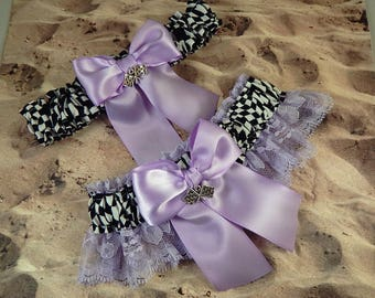 Racing Lavender Orchid Purple satin Lavender Lace Flag Charms Wedding Garter Bridal Toss Set