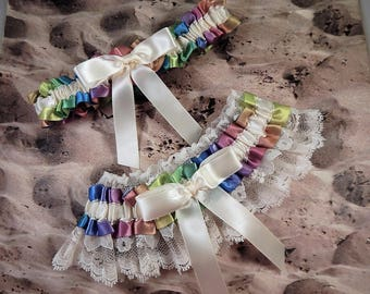 Rainbow Ribbon Ivory Satin Ivory Lace Wedding Bridal Garter Toss Set