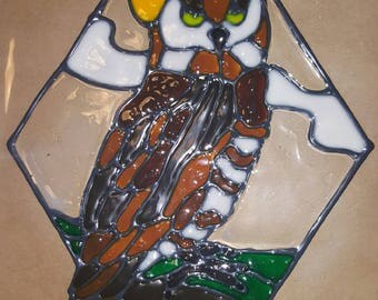 Barn Owl Stained Glass Cling