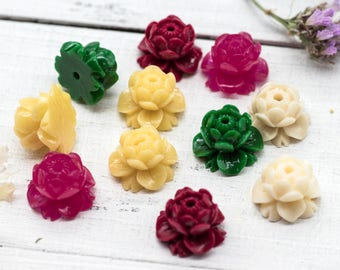 Lotus Flower Beads, 10pcs, 11mm, Acrylic Beads, Lotus Flower, Mala Jewelry Beads -B175