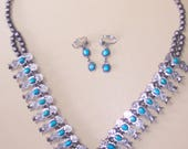 Vintage Squash Blossom Necklace and Earrings Set with Original Box