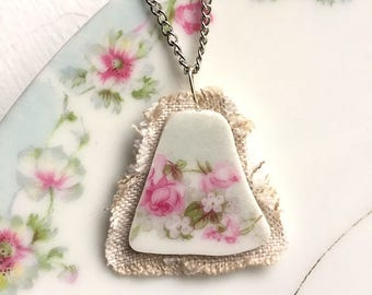 Broken china jewelry - china pendant necklace with chain - antique china shard on linen pendant - pink roses - made from a broken plate