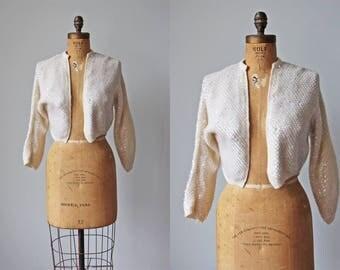 1950s Bolero Sweater - Vintage 50s Cardigan - Aurora Borealis Ivory Sequin Sweater Wedding Shrug M L XL - Pearl Dawn Cardigan