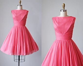 50s Dress - Vintage 1950s Dress - Coral Pink Chiffon Full Skirt Party Prom Dress XS - Bubblegum Dress