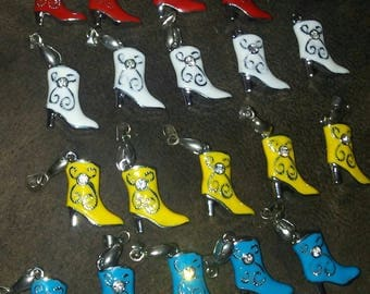 19 Cowgirl Boot Charms-White,Red,Blue,Yellow