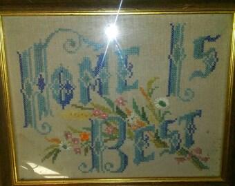 Vintage Handmade Framed Crossstitch Sampler- Home is Best