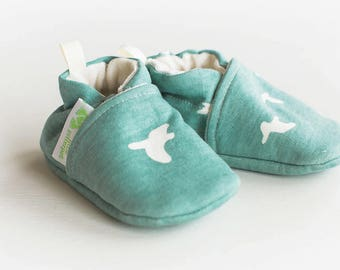 Organic Knits Vegan Flight in Mineral / All Fabric Soft Sole Baby Shoes / Made to Order / Babies