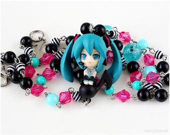 Hatsune Miku Kawaii Necklace, Gamer Jewelry, OOAK, Vocaloid