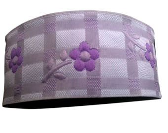3 cm  Satin Jacquard Ribbon Trim with Lavender and Purple  Daisy Flowers