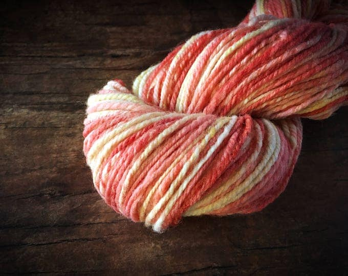 Hand dyed yarn - coral