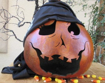 Halloween Gourd Pirate Jack O Lantern Primitive Pumpkin Decoration