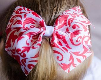 Hair Bow - Salmon on White Damask Print Pinwheel Bow
