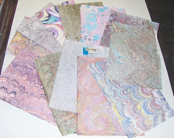 pack 12, hand  marbled paper,, マーブル紙,   scrapbook paper -  cm 25 x 17,5  -  5995