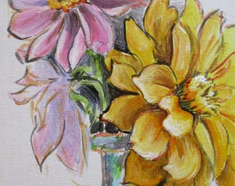 Dahlias III - original daily painting by Kellie Marian Hill