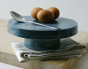 Ceramic cake stand - hand thrown stoneware pottery glazed in smokey blue