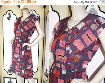 Summer Sale 20% Off 1980's Puritan Collar Novelty Print Summer Dress in Purples and Mauves. Medium to Large.