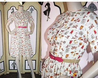 Summer Sale 20% Off Vintage 60's Shirtwaist Dress in Novelty Print of Scales and Measures. DEADSTOCK. XS Small.
