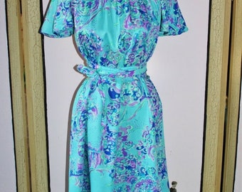 Summer Sale 20% Off Vintage Early 70's Aqua and Purple Flutter Sleeve Dress with With Waist Tie by Two Potato of Laguna Beach. Small
