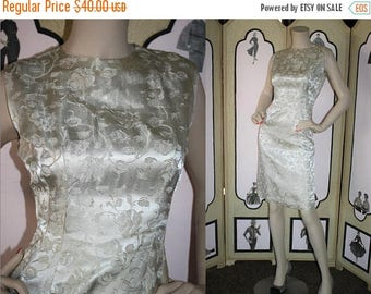 ON SALE Vintage 1960's Dress. Champagne Brocade Cocktail Party Dress. Small