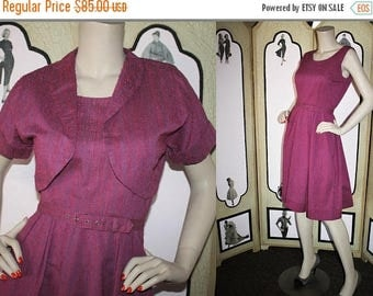 ON SALE Vintage 50's Dress and Bolero. Beautiful Nubby Raspberry Tonal Cotton. Small.