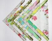 Fabric Napkins, Cloth Napkins, Reusable Napkin Set, Vintage Aqua Florals, Handmade by Knotted Nest