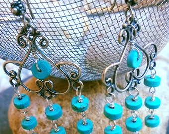 Turquoise Magnesite & Sterling Silver earrings SALSA Blue Get 50%Off Now!
