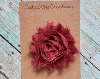 Shabby Cranberry Red Flower Hair Clip