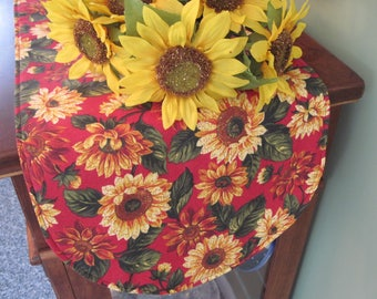 "Sunflower 36"" Table Runner Reversible Yellow table Runner Yellow and Red Sunflower Table Runner Sunflower table decor Red Table Decor"
