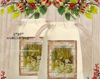 Vintage Nativity Muslin Gift Bag 4x6 / CHRISTMAS Gift Card Holder / Party Favor Bag Sack Pouch Tote / Hot Cocoa Packet Holder / QTY DISCOUNT