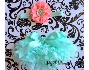 SALE Baby Bloomer and Headband Set- Ruffle Bum Baby Bloomer, spring set , mint tutu bum bloomer ,newborn bloomer, baby girl photo prop