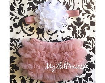 SALE HEADBAND and BLOOMERS vintage pink and white. Ruffle Bum Baby Bloomer Set,Eyelet Flower headband, Newborn Photo Prop,ready to ship