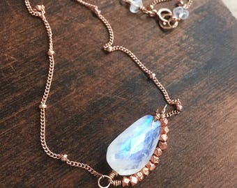 Moonstone Gemstone Necklace in Rose Gold with Copper Accents, Handmade Moonstone Boho Layering Necklace