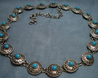 """Vintage Concho Belt Turquoise Glass & Faux Filigree Adjustable to 36"""""""