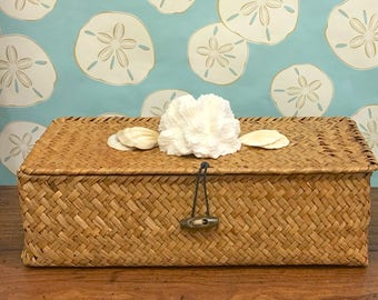 Beach Decor - Rattan Box with Natural Coral and Shells - storage, coastal, nautical