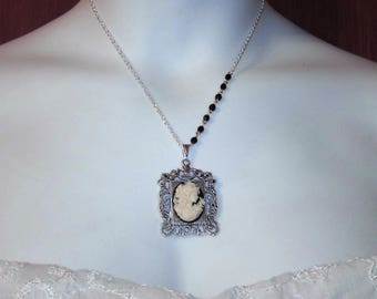 Southern Belle Picture Frame Asymmetrical Pendant - Black and Cream - Silver plated - Victorian Jewelry - UDC - Butterfly Goddess - Lady