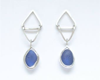 Sea Glass Jewelry - Sterling Cobalt Blue Sea Glass Post Earrings