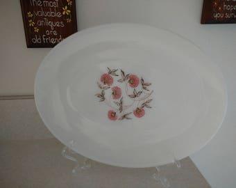 Fire King Fleurette Floral Milk Glass Oval Serving Platter